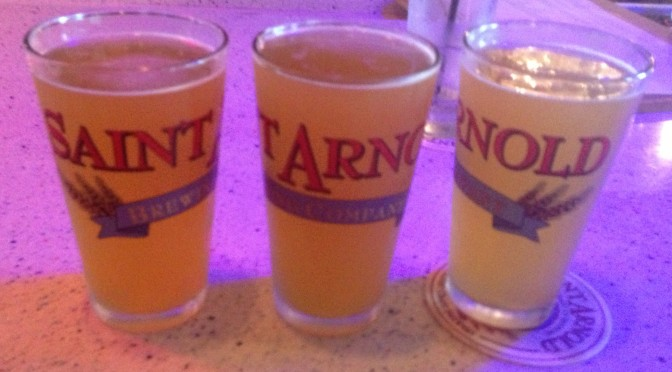 three saint arnold pints
