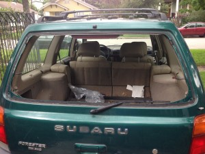 rear view of Subaru Forester without a back window