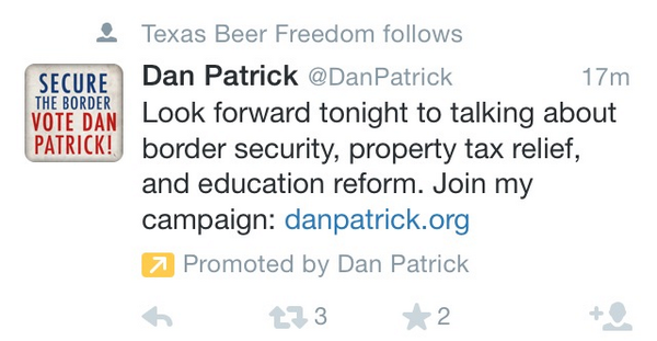 Tweet: Dan Patrick paying to get into my twitter stream….